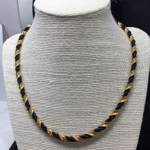 Monet necklace chain intertwined black beads
